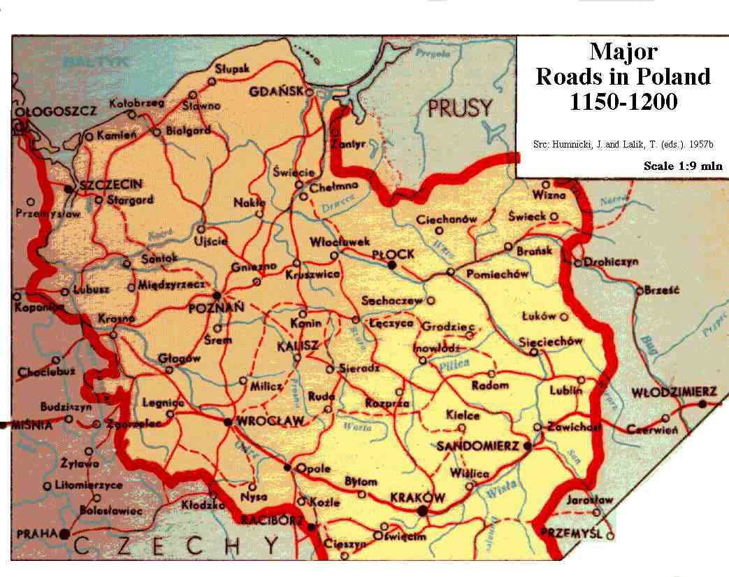 Major Roads in 12th c. Poland